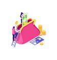 purse symbol banknote vector image