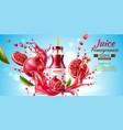 realistic pomegranate juice bottle splash a vector image vector image