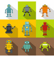 robot icon set flat style vector image vector image