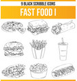 scribble black icon set fast food i vector image