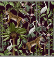 seamless pattern in chinoiserie style with tiger vector image vector image