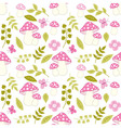 seamless pattern with amanita flower and leaf vector image vector image