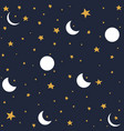 seamless pattern with moon and stars vector image vector image