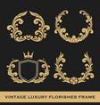 set vintage luxury monogram frame template vector image