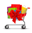 shopping cart full shopping bags and a gift bow vector image
