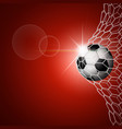 soccer ball in goal red vector image vector image