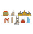 spain barcelona flat landmarks vector image vector image