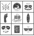 Surfer set Vintage elements and labels vector image