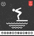 Swimmer on a springboard jumping into the water vector image