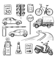 Traffic hand drawn icons set vector image vector image
