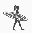 Woman goes surfing with surfboard Surf school logo vector image vector image