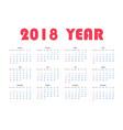 year 2018 calendar vector image