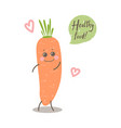 cute happy smiling carrot with words healthy food vector image