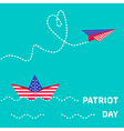 Paper boat and plane patriot Flat vector image