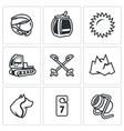 Set of Ski Resort Icons Helmet Funicular vector image