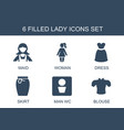 6 lady icons vector image vector image