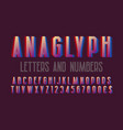 anaglyph letters and numbers with currency signs vector image vector image