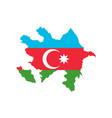 azerbaijan map and flag vector image vector image