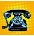 Black retro phone vector image vector image