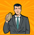 businessman eating delicious sandwich lunch break vector image