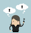 businesswoman holding key for unlock the idea vector image vector image