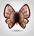 butterfly with skin mandala boho style vector image