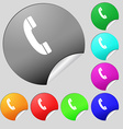 Call icon sign Set of eight multi colored round vector image vector image