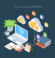 cloud data storage isometric composition vector image vector image