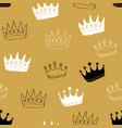 Crown seamless pattern hand drawn royal doodles