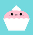 cupcake icon cute cartoon kawaii funny smiling vector image