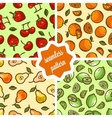 cute fruit patterns set vector image