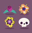 day dead catrina flowers decoration vector image