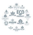 eco leaf logo icons set simple style vector image vector image