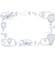 ector banner with hot air baloons vector image