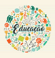 Education school icon quote in portuguese language