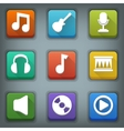 Flat icon set White Symbols Music vector image vector image