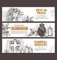 funeral service sketch banners vector image vector image