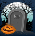 Halloween decoration - a grave with a pumpkin vector image