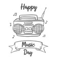 happy music day background with radio vector image