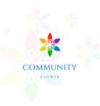 human leaf flower charity diversity community logo vector image