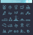 iceland icons tourism and attractions vector image vector image