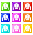 jacket icons 9 set vector image vector image