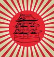 Japan osaka castle on sun flag vector image