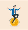 man riding a bicycle with coins instead wheels vector image