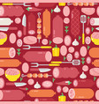 meat and sausages seamless pattern vector image vector image