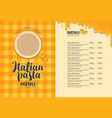 menu for italian restaurant with pasta on a plate vector image