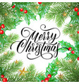 merry christmas greeting card christmas pine vector image vector image