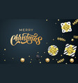merry christmas greeting card golden calligraphy vector image vector image