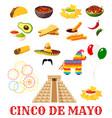 Mexican cinco de mayo fiesta party food icon vector image