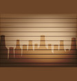 mock up realistic wood and beer bottle glass vector image vector image